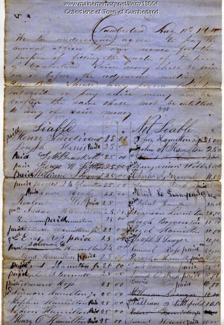 Cumberland Civil War bounties, 1864