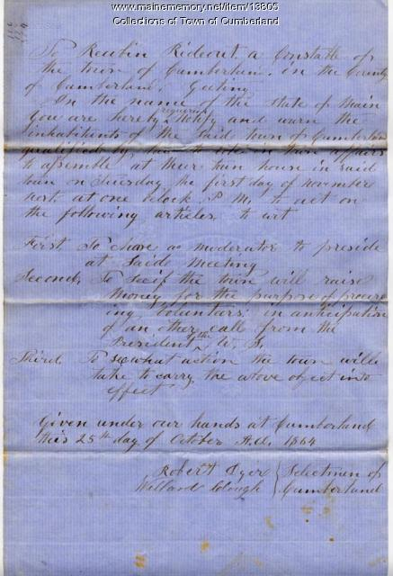 Town of Cumberland warrant, 1864