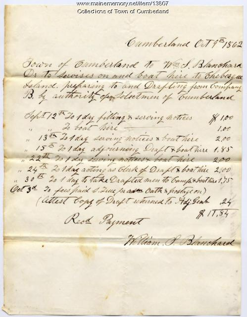 William S. Blanchard transportation invoice, Cumberland, 1862