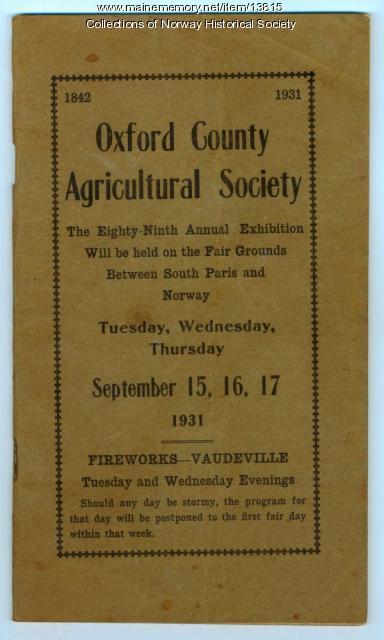 Exhibition Program, Oxford County Fair, 1931