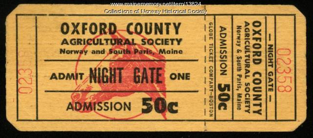 Ticket, Oxford County Fair, ca. 1950