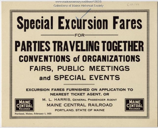 Railroad fare announcement, 1923