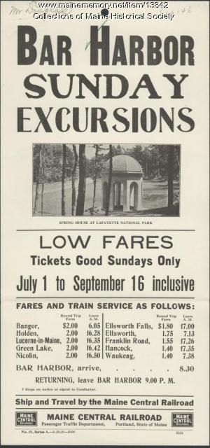Sunday excursion announcement, Maine Central Railroad