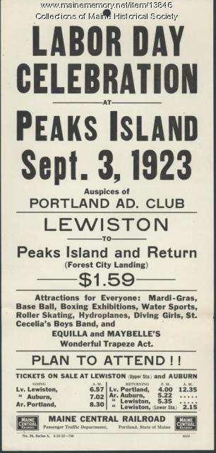Railroad excursion to Peaks Island flyer, 1923