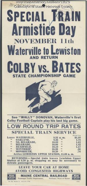 Train excursion to football game, 1930