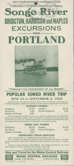 Songo River excursion flyer, 1929