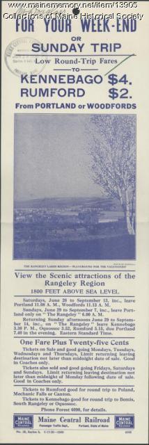 Excursion flyer, Maine Central Railroad, ca. 1930