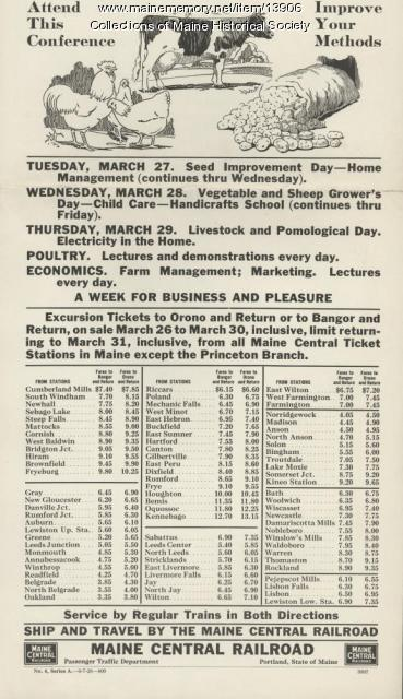 Railroad flyer for Farmers' and Home-Makers' Week, 1928