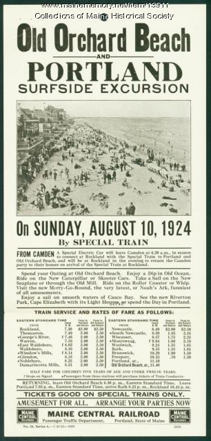 Train excursion flyer, Old Orchard Beach and Portland, 1924