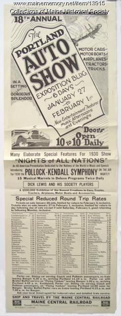 Train excursions to Portland Auto Show, 1930