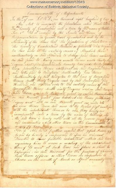 Articles of Incorporation, Town of Baldwin, 1802