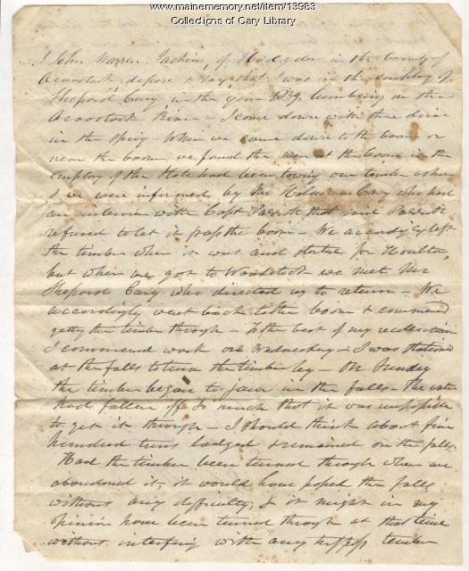 John Jackins affadavit on timber interference, Fort Fairfield, 1839