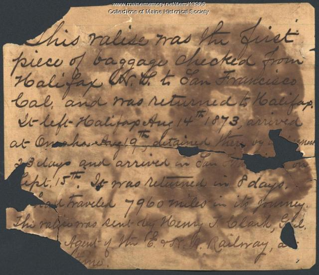 Note concerning valise shipment cross-country, 1873