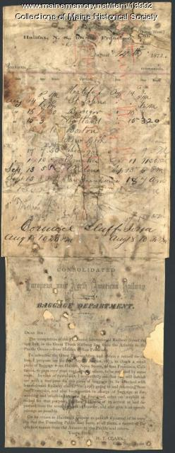 Schedule and instructions of baggage shipment, 1873