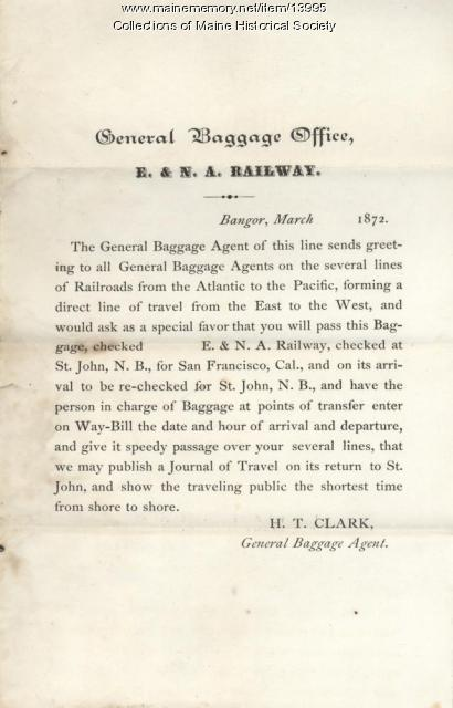 Announcement to baggage agents, 1872