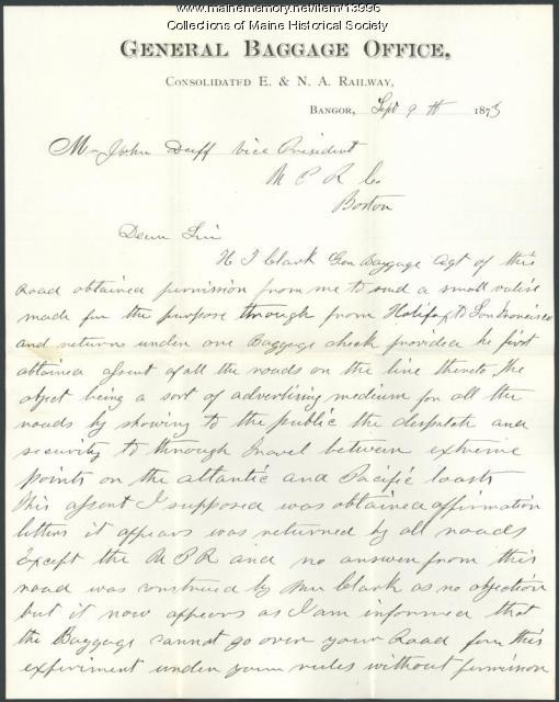 Letter concerning baggage delay in Omaha, 1873