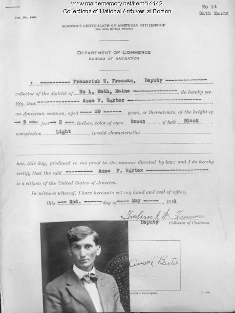 Citizenship Certificate for Amos F. Barter, 1918