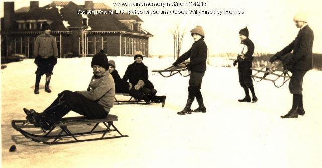 Children sledding, Hinckley, ca. 1910