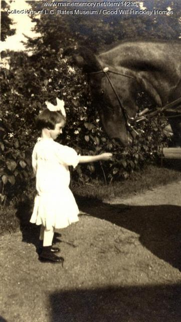 Norma Fuller and pony, Good Will Homes, 1916