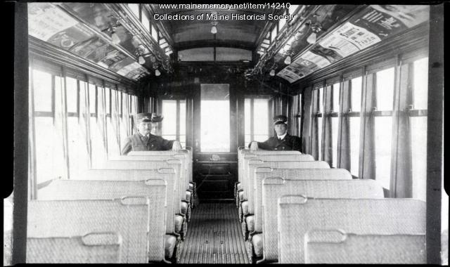Interior of street railroad car, ca. 1920