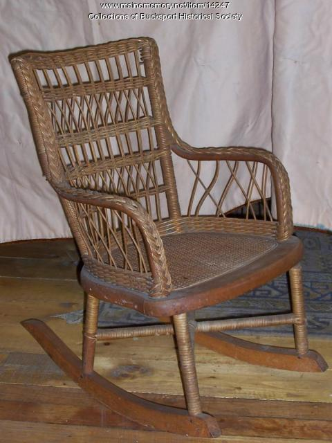 Child's rattan rocking chair, ca. 1800