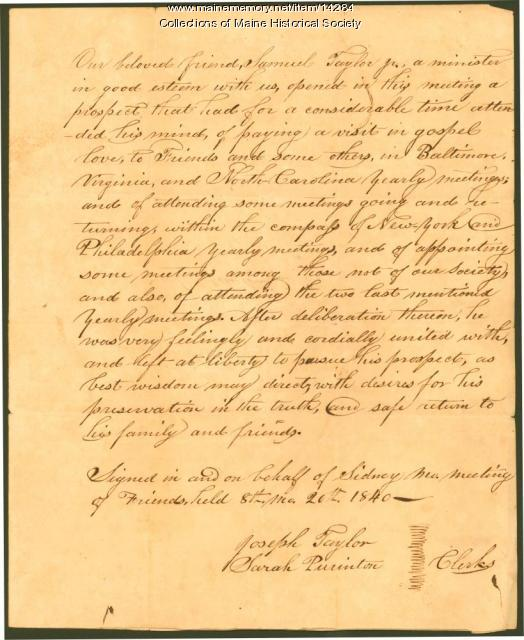 Resolutions concerning Samuel Taylor, 1840