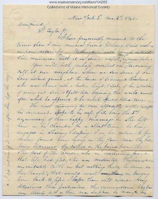 Letter to Samuel Taylor concerning death of friend, 1844