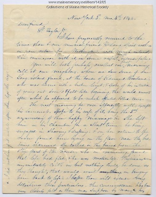 Letter to Samuel Taylor concerning death of friend, 1844