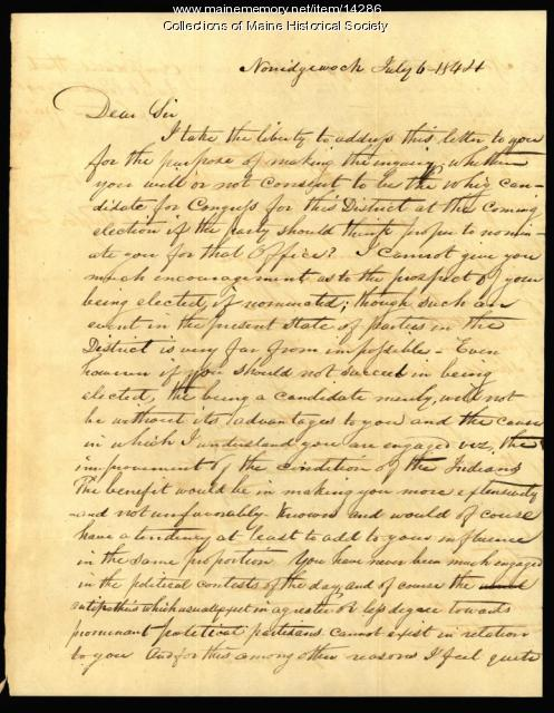 Letter to Samuel Taylor concerning candidacy, 1844
