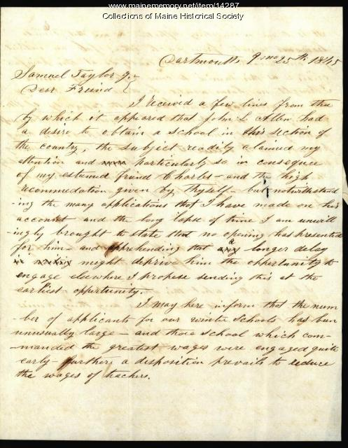 Letter from George W. Francis to Samuel Taylor Jr., 1845