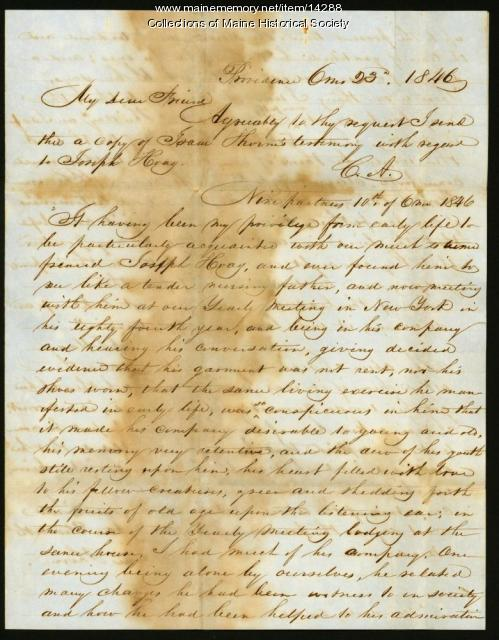 Charles Atherton copy of testimony concerning threats to Society of Friends, 1846