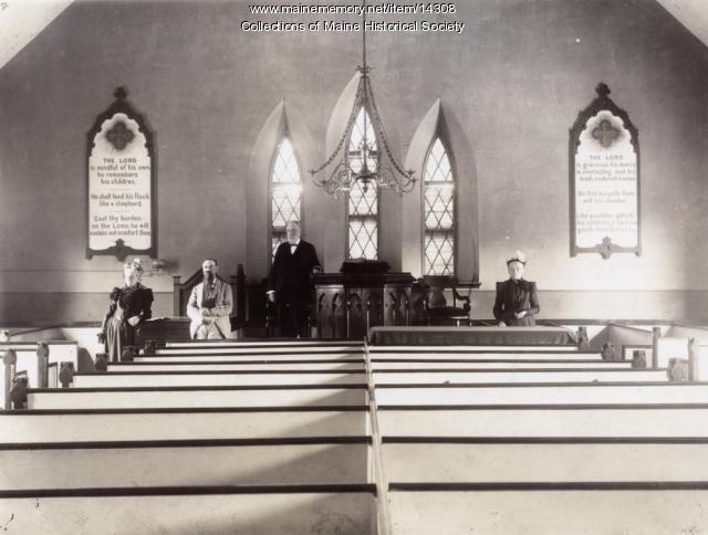 Preble Chapel interior, Portland, ca. 1890