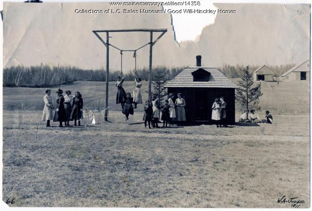 Girls on playground, Good Will Home, ca. 1900