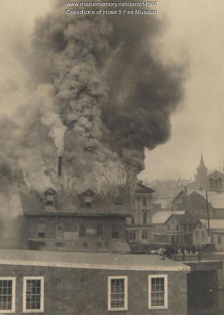 Fire at the start of State Street in Bangor, ca. 1890