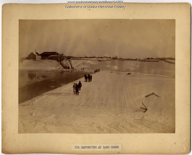 Ice harvesting at Long Creek, South Portland, ca. 1890