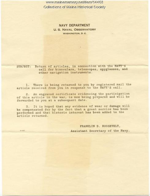 Letter concerning return of telescope, ca. 1918
