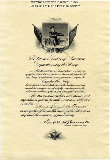 Eyes for the Navy Certificate of Acknowledgment, ca. 1918