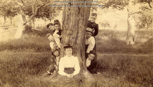 Women around a tree, Bucksport, ca. 1900