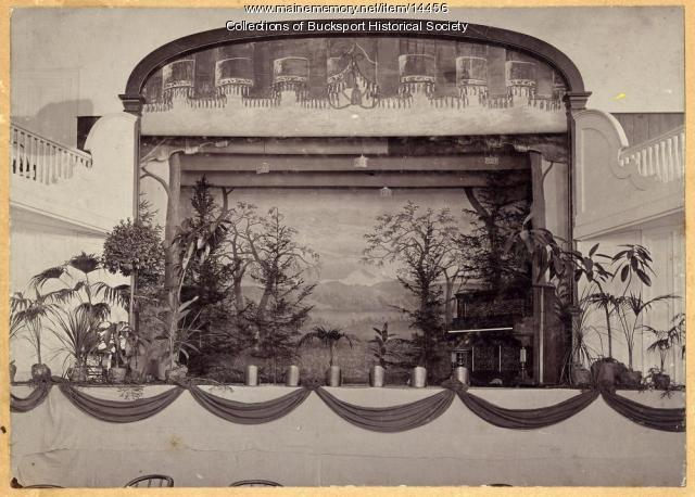 Stage at Emery Hall, Bucksport, ca. 1910