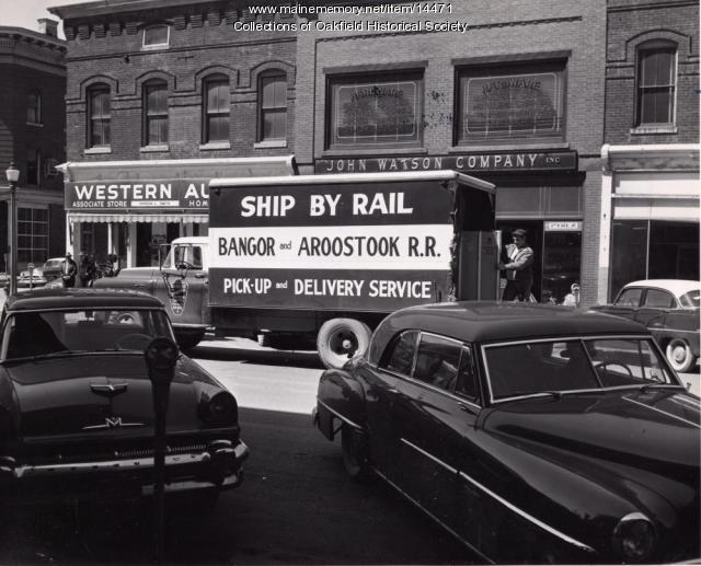 Railroad small load delivery, Houlton, 1956