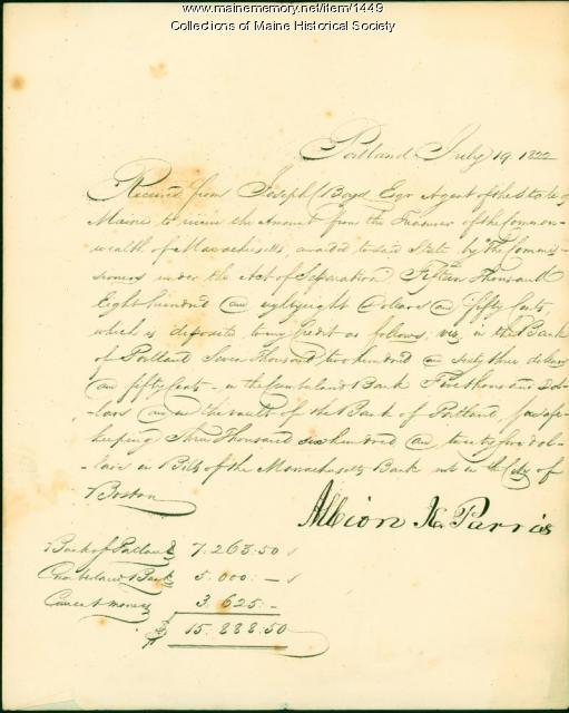 Receipt of monies transferred from Massachusetts, July 19, 1822