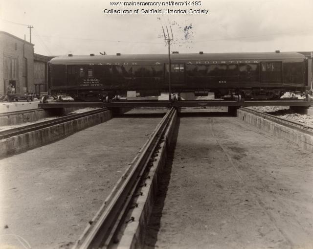 Bangor and Aroostook mail car, Derby,  1938