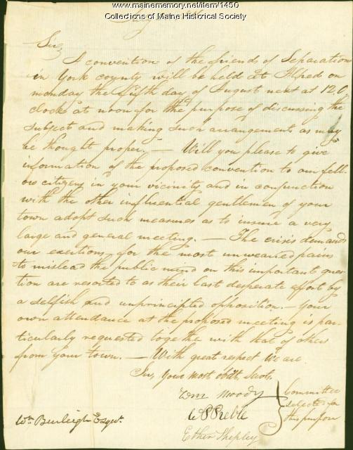 Letter from the Friends of Separation in York County, 1816