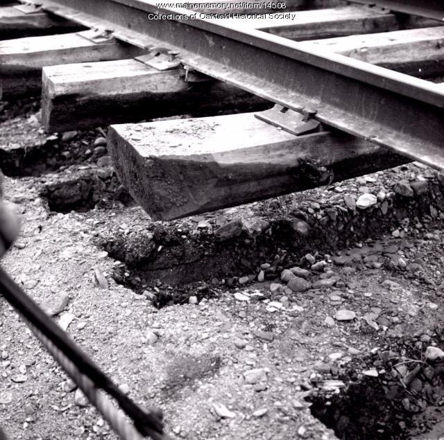 Bangor and Aroostook Railroad track repair, lifting track, c. 1955