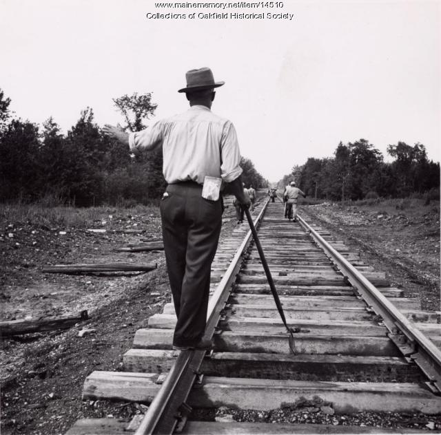 Bangor and Aroostook Railroad Section Crew Lining the Track, ca. 1933