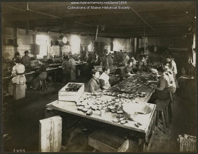 Filling cans with sardines, Eastport, 1877