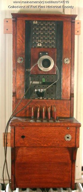 Fort Kent Telephone Company switchboard, c. 1895