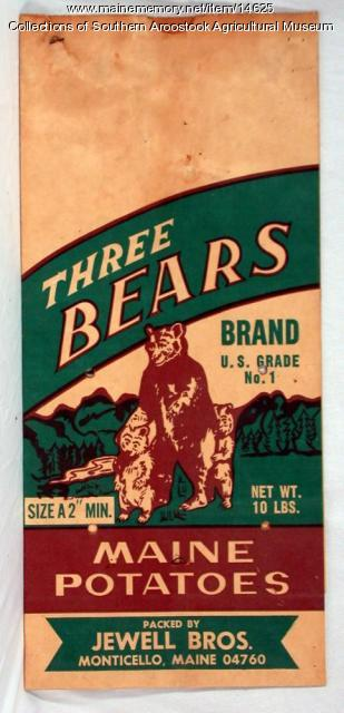 Three Bears Brand potato bag, Monticello, c. 1970