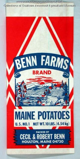 Benn Farms Brand potato bag, Houlton, c. 1980