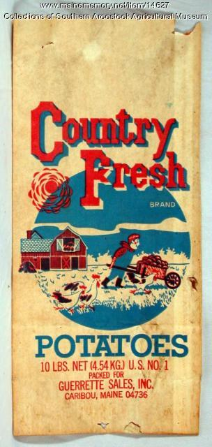 Country Fresh Brand potato bag, Caribou, c. 1960